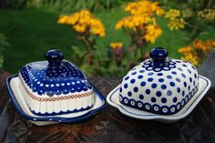 Polish stoneware - those butter dishes are so cute!