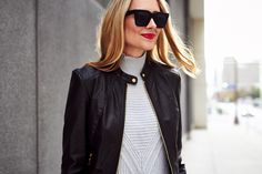 Fall Outfit, Black Leather Jacket, Grey Sweater, Red Lipstick
