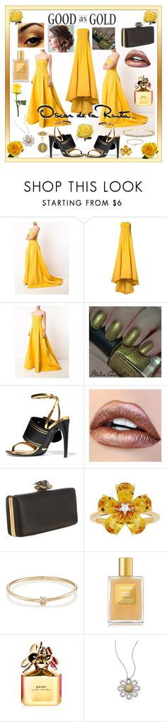 """""""Marigold Dress by Oscar"""" by snowflakeunique ❤ liked on Polyvore featuring Oscar de la Renta, Burberry, Alexander McQueen, David Tutera, Jennifer Meyer Jewelry, Tom Ford, Marc Jacobs, Roberto Coin and Allurez"""