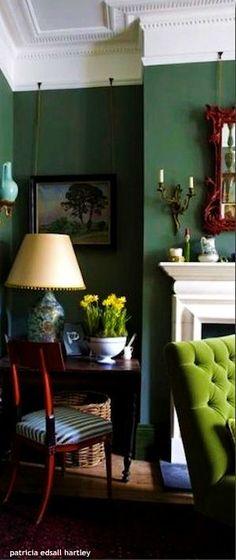 dark green walls with lime green tufted chair & great fireplace. I just love the dark green walls. Living Room Green, Living Room Decor, Living Spaces, Bedroom Green, Dark Walls Living Room, Green Bedrooms, Interior Inspiration, Room Inspiration, Design Inspiration