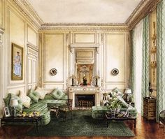 The Duke and Duchess of Windsor's Banquette Room.  Drawing by Alexandre Serebriakoff