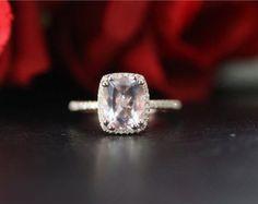 Corte de la princesa de 8x8m m puro anillo de por ByLaris en Etsy