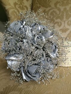 silver prom bouquet silver wedding bouquet by TheCrystalFlower, $98.00