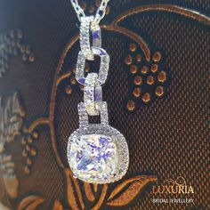 Wedding Jewellery Online New Zealand, 925 Sterling Silver Pendant decorated with diamond simulants and supplied with italian silver chain.  Luxuria, Stylabs Jewellery