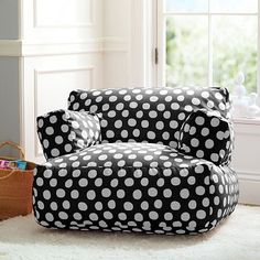 For under my window Black Painted Dot Eco Lounger #potterybarnteen