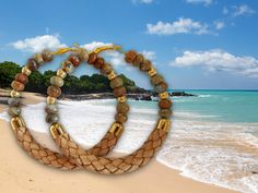 Nassau (Bahamas) inspired leather and gemstone hoops