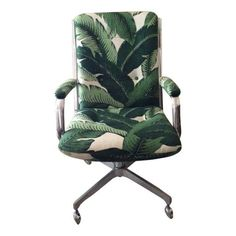 Image of Vintage Desk Chair in Palm Upholstery