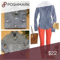 Perfect AMERICAN EAGLE Denim Shirt Gently Worn Condition. You can create so many great outfits with this AEO denim button down. A must have! American Eagle Outfitters Tops Button Down Shirts