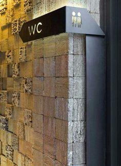 wayfinding signage, bent laser-cut metal, powder-coated, back-lit (Wc sign) Odessa Restaurant, Deco Restaurant, Restaurant Design, Restaurant Signage, Restaurant Exterior, Directional Signage, Wayfinding Signs, Metal Signage, Backlit Signage