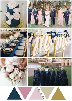 Navy, Blush and Gold Garden Wedding Colour Scheme | A Hue For Two
