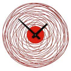 RED WIRE VORTEX WALL CLOCK