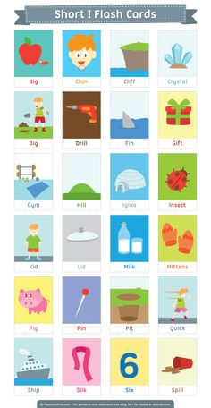 Free printable short I flash cards. Download them in PDF format at http://flashcardfox.com/download/short-i-flash-cards/
