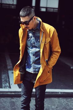 Shop this look for $55: http://lookastic.com/men/looks/navy-jeans-and-blue-denim-jacket-and-yellow-jacket/489 — Navy Jeans — Blue Denim Jacket — Yellow Jacket
