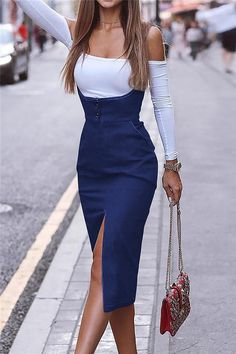 Solid Color Slit Pinafore Dress– Pavacat Women's Fashion Dresses, Casual Dresses, Dresses Dresses, Summer Dresses, Denim Bodycon Dress, Straight Dress, Pinafore Dress, Types Of Dresses, Dress Brands