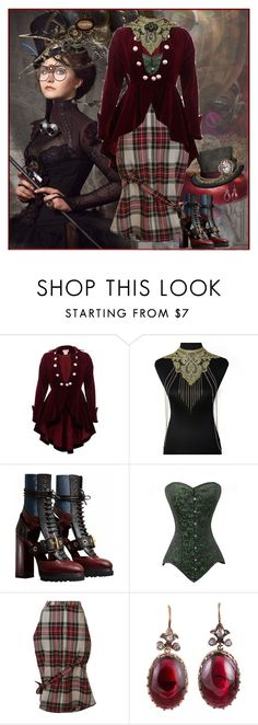 """""""SteampPunk Holiday"""" by halebugg ❤ liked on Polyvore featuring Burberry, Area Di Barbara Bologna, plaid, velvet and steampunk"""