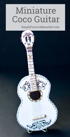 How to make a miniature guitar out of foam and decorate it to look like the Disney Pixar's Coco guitar