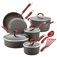Rachael Ray Cucina Hard-Anodized Aluminum Nonstick Cookware Set, 12-Piece, Gray, Cranberry Red Handles >>> More info could be found at the image url.-It is an affiliate link to Amazon.