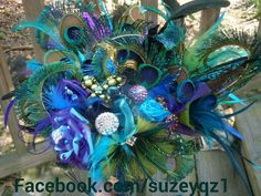 Peacock wedding bouquet. Bridal bouquet sparkling by peacockbridal, $239.00