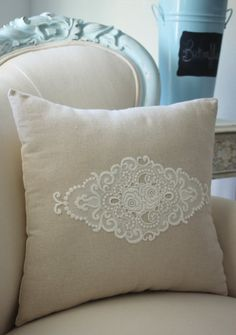 Vintage French cutwork embroidery pillow w/cream floral applique