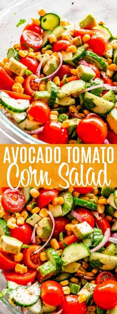 Tomato Avocado Corn Salad with Lime-Cumin Vinaigrette - Simple, delicious, and refreshing summer salad packed with corn, cucumber, tomato, avocado and a drizzle of the best Lime Cumin Vinaigrette! #corn #avocado #salads #vegetarian Avocado Recipes, Healthy Salad Recipes, Vegetarian Recipes, Vegetarian Salad, Healthy Food, Avocado Tomato Salad, Cucumber, Appetizer Salads, Healthy Recipes