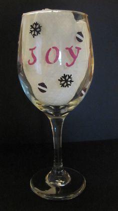 Christmas Handpainted Wine Glass. $15.00, via Etsy.