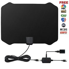 LOOK!! HDTV Antenna,Indoor Amplified TV Antenna 50 to 70 Miles Range with Detachable Amplifier Signal Booster and 16 Feet Coaxial Cable (Black)