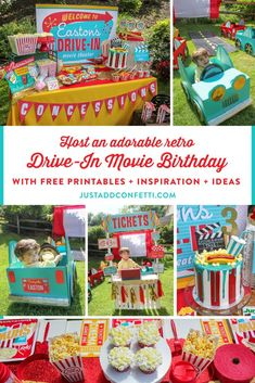 Easton's Retro Outdoor Drive-In Movie 3rd Birthday Bash, drive-in movie party, drive-in party, outdoor movie party, outdoor movie birthday party, car party, kids birthday party, Just Add Confetti, cardboard box cars, DIY cars, DIY cars for kids, concession stand, popcorn, outdoor movie, party blogger, Pittsburgh blogger, drive-in movie birthday party, backyard drive-in movie theater, transform your backyard into a drive-in movie theater, free printable, thank you tag printables, license plate pr