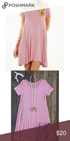 """Pink & White Striped tee dress ✨ Super cute and comfy dress in like new condition! Worn once. Runs true to size. 95% Rayon, 5% Rayon. 35"""" from shoulder to hem. Dresses"""