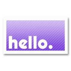 HELLO Purple Stripes Company Business Card