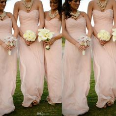 2015 Cheap Blush Pink Long Chiffon Bridesmaid Dresses 2016 Sweetheart Pleated Zipper Back Maid of Honor Dresses Summer Beach Prom Gowns Online with $91.1/Piece on Allanhu's Store | DHgate.com