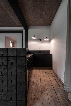 destilat Design Studio designed a stunning modern lounge in the former workshop of a historical Alpine chalet in Tyrol, Austria. Lounge Design, Old Wooden Chairs, Long House, Lounge Chair, Wood Architecture, Modern Lounge, Floor Patterns, Design Studio, Wooden Flooring