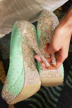 Mint Green Sparkle Heels - BLING! Mint and glitter? my favorite flavor and color all in one pair of shoes?!