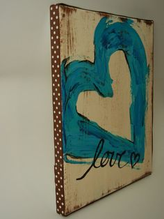 blue heart canvas painting $16