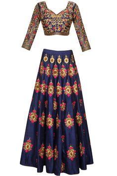 Blue bootis embroidered lehenga set available only at Pernia's Pop Up Shop.#perniaspopupshop #shopnow #clothing#festive #newcollection #surendribyyogeshchaudhary #happyshopping