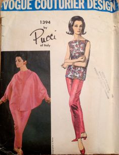 Vogue 13941960s PUCCI of Italy  Misses Batwing  Jacket Slim Pants and Blouse womens vintage desinger sewing pattern by mbchills