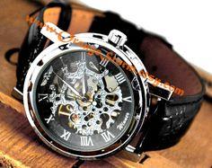 Man Watch,Mechanical Watch,Four Color for Choose ,Steampunk Watch,Wrist Watch, Leather Wrist Watch,Vintage Watch,Vintage Men's Leather Watch on Etsy, $22.99