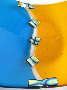 Turquoise Glass Bowl Fused Orange Blue by DawnofCreationGlass