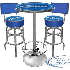 Trademark Bud Light Pub Table and 2 Stools With Back Set, Silver