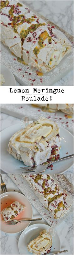 Lemon Meringue Roulade! A Crunchy, Chewy, Soft Lemon Meringue filled with Freshly Whipped Cream, Lemon Curd, Passion Fruit, and some Freeze Dried Raspberries to decorate.