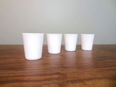 Set of Four Vintage Milk Glass Tumblers, Juice Glasses, Drinking Glasses