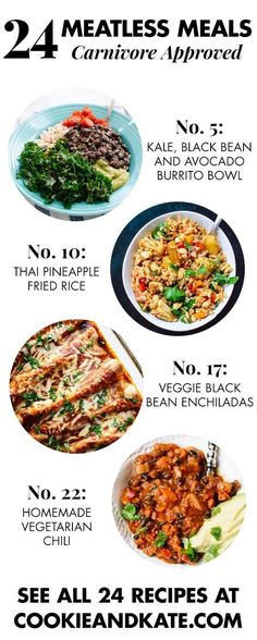 Find 24 meatless recipes that your die-hard meat eaters will love! cookieandkate.com