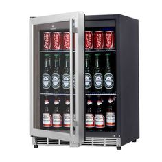 Keep your drinks ice cold with our beverage fridge with a glass door and stainless trim. Order the model beverage cooler from KingsBottle. Beer Fridge, Beverage Refrigerator, Fridge Built In, Coca Cola, Free Standing Shelves, Beverage Center, Beer Cooler, Thing 1, In Vino Veritas