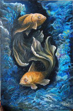 Купить Подводный танец - Живопись, золотые рыбки, глубины, подарок, холст, масло, структурная паста