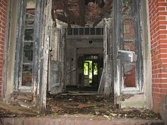 An entrance-way of the typhoid hospital on North Brother Island, NYC.