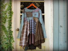 XL Blue Upcycled Bohemian Day Dress// Blue Green by emmevielle, $93.00