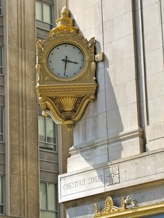 Gimbels Clock. Gimbels was a major department store that was established here in Philadelphia in 1894 by Jacob & Isaac Gimbel. This location closed for a move to the Gallery in 1977, and the Market St. portion of the store was demolished. The Chestnut St. side remains in use as an office building. The building was designed by Graham, Anderson, Probst & White. Oh, and the clock still works.
