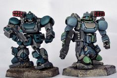 Comparison of NuCoal Chasseur (left) and Southern Jager (right) command versions from Heavy Gear Blitz by Dream Pod 9 painted by D1SINFECTING