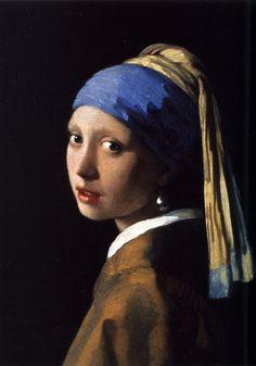 Vermeer - Girl with a pearl earing. Johannes Vermeer van Delft, llamado por sus contemporáneos Joannis ver Meer o Joannis van der Meer e incluso Jan ver Meer, es uno de los pintores neerlandeses más reconocidos del arte Barroco.
