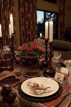 Love the wood candle stick and plaid table cloth