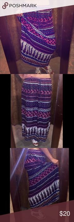 """Cute maxi skirt NWOT maxi skirt, super cute colors and patterns, just slightly too short for me, I'm 5'9"""". Very lightweight and soft material. The shoes shown in this listing are for sale as well, check out my closet! Skirts Maxi"""